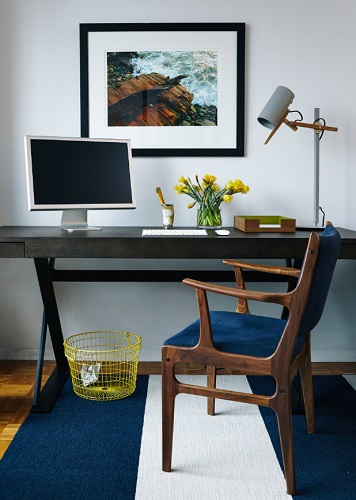 The most important aspect of building a home office is to make your space feel like home (by Common Bond Design)