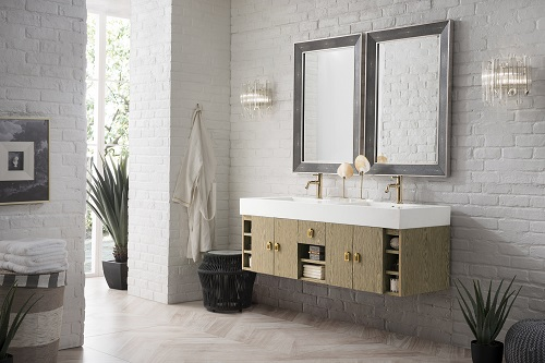 """Tiburon 59"""" Double Bathroom Vanity in Champagne Tiger 868-V59D-CTG-G-MW from James Martin Furniture"""