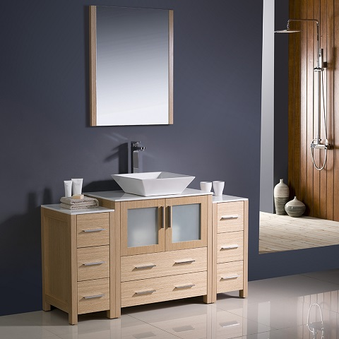 "Torino 54"" Light Oak Modern Bathroom Vanity FVN62-123012LO-VSL from Fresca"