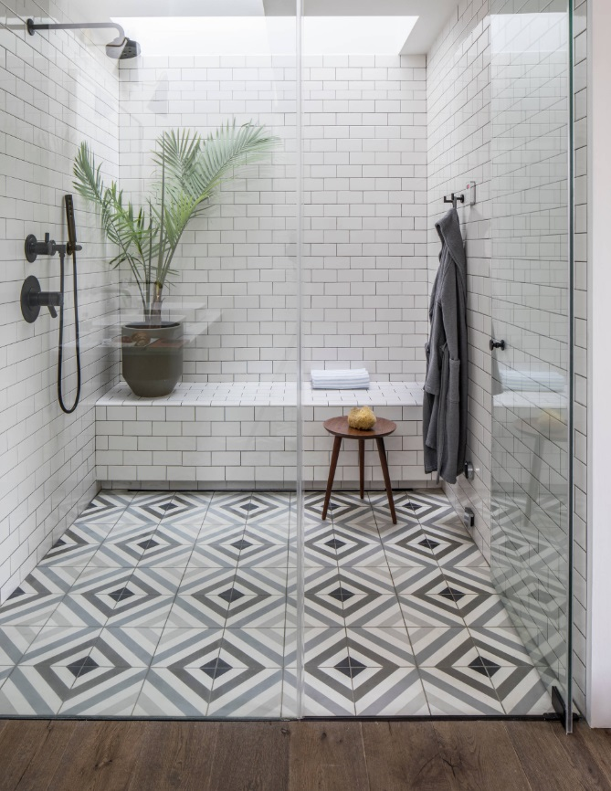 Depending on your taste, graphic print tile can be used either as large-scale field tile or as a smaller patterned accent (by Insidesquad, inc)