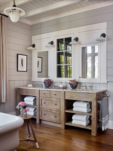 Bathroom trends can be applied to any size space, but be aware that they might have a different impact in a large master bathroom than a petite powder room (by T.S. Adams Studio, Architects)