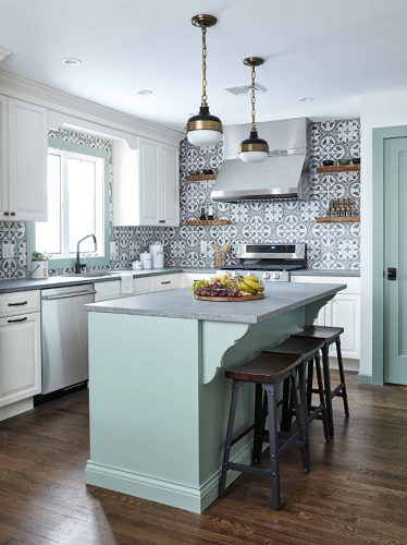Bold graphic tile can give even a homey cottage style kitchen an updated contemporary edge (by Lavette's Home Style)