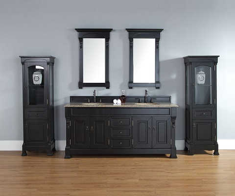 "Brookfield 72"" Antique Black Double Bathroom Vanity 147-114-5731-2DSC from James Martin Furniture"