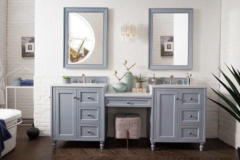 "Copper Cove Encore 86"" Double Bathroom Vanity Set 301-V86-SL-DU-3SNW from James Martin Furniture"
