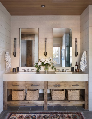 Pairing a natural, textured wood vanity with more streamlined modern features can help maintain a more contemporary look (by Arcanum Architecture)