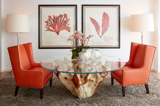 Accentuating a room with a few living coral accents is a great way to add a pop of color to your space, and keep your home on trend for 2019 (by Jalan Jalan Collection)