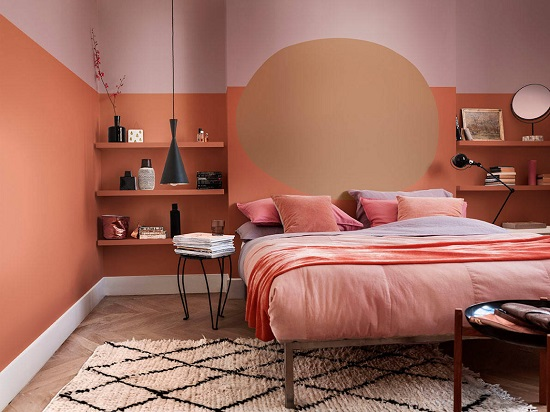 Living coral is a really bold, intense color, but if you love the look, there are a lot of ways to make it work on your walls (by Dulux)