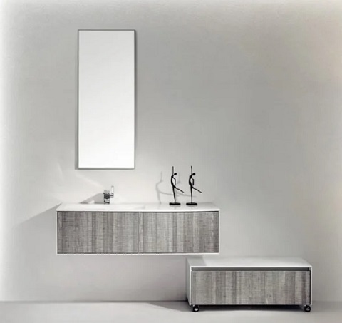 "Ashy 48"" Wall Mount Modern Off-Set Sink Bathroom Vanity EVVN12-48ASH-SS from Eviva"