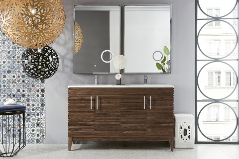 "Lineage 59"" Double Bathroom Vanity in Midcentury Walnut 212-V59D-WLT-GW from James Martin Furniture"