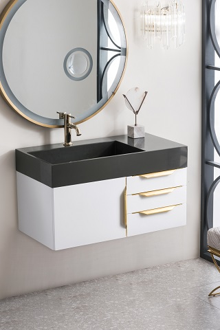 "Mercer Island 36"" Single Bathroom Vanity in Glossy White 389-V36-GW-G from James Martin Furniture"
