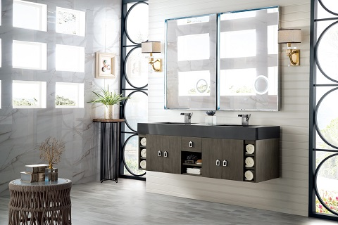 "Tiburon 59"" Double Bathroom Vanity in Silver Oak 868-V59D-SOK-DGG from James Martin Furniture"
