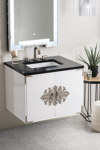 """Ventura 30"""" Single Bathroom Vanity in Glossy White 888-V30-GW-3IBK from James Martin Furniture"""