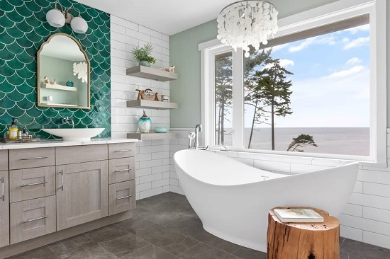 Building your dream bathroom is really about choosing a few interesting elements... and not being afraid to combine them (by Tree Frog Design)