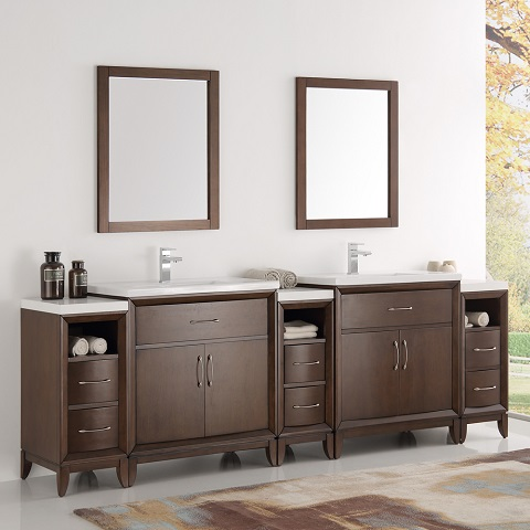 "Cambridge 96"" Antique Coffee Double Sink Traditional Bathroom Vanity FVN21-96AC from Fresca"