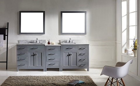 "Caroline Parkway Transitional 93"" Double Sink Bathroom Vanity Set MD-2193-WMSQ-GR-001 from Virtu USA"
