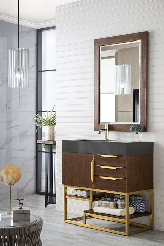 "Columbia 36"" Single Bathroom Vanity in Coffee Oak and Radiant Gold 388-V36-CFO-RG from James Martin Furniture"