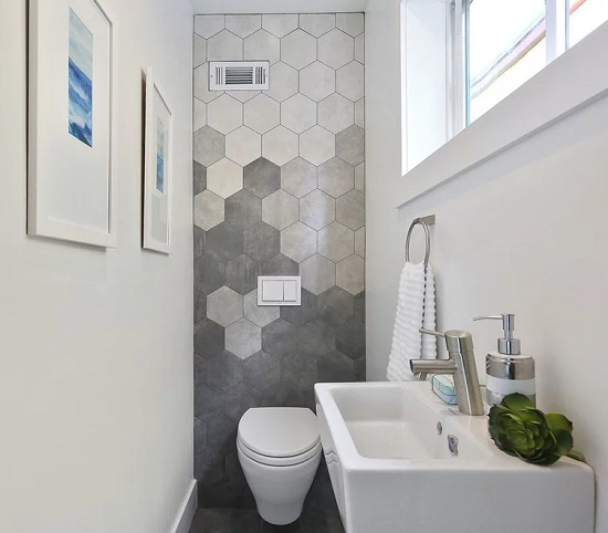 Creatively arranging hexagonal tile can create a beautiful ombre-style gradient (by PROYECTO)