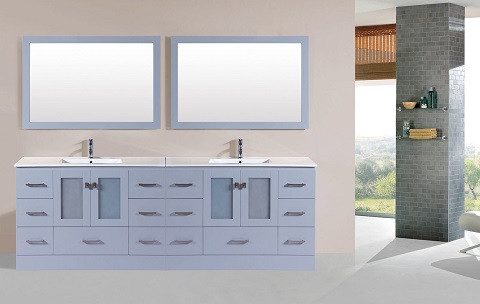 "Hermosa 96"" Gray Double Modern bathroom Vanity PVN-HERMOSA-48-48-GR-INT from the Pacific Collection"