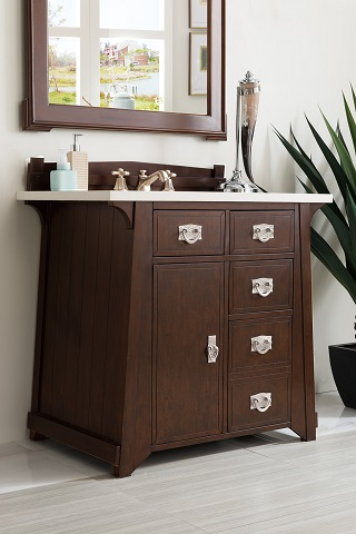 "Pasadena 36"" Single Bathroom Vanity in Burnished Mahogany 250-V36-BNM from James Martin Furniture"