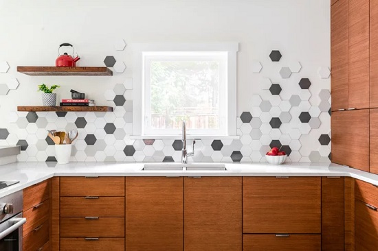 Picking 3-4 different colors of hexagonal tile and arranging them in a loose pattern can help play up the futuristic look of your wall, floor, or backsplash (photo by Dasha Armstrong)