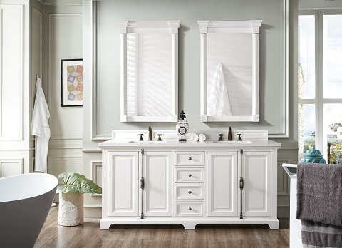 "Providence 72"" Double Bathroom Vanity Cabinet 238-105-V72-CWH in Cottage White from James Martin Furniture"