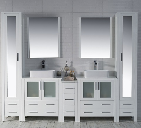 "Sydney 102"" Bathroom Vanity Set in Glossy White 001-102-01-D-1915V-MLC from Blossom"