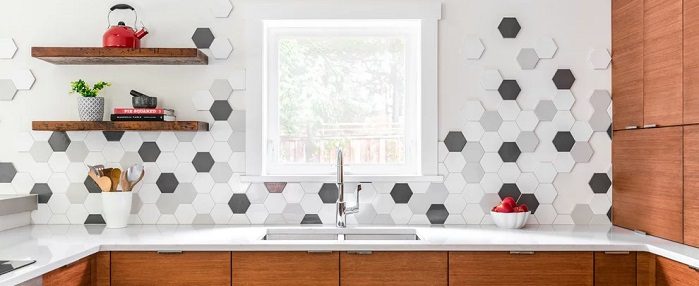Decorating With Hexagonal Tile Trendy Hex Tile Projects For Your Kitchen Or Bathroom