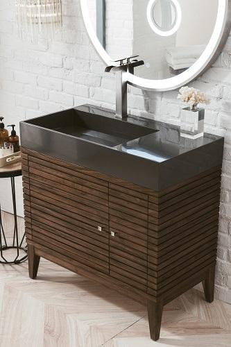 "Linear 36"" Single Bathroom Vanity 210-V36-WLT-DGG from James Martin Furniture"