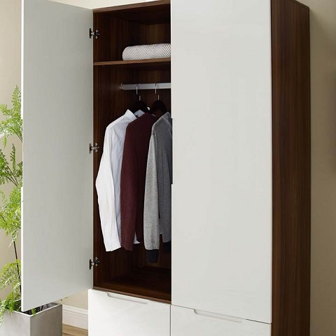 Origin Wood Wardrobe Cabinet IN Walnut White MOD-0677-WAL-WHI from Modway Furniture
