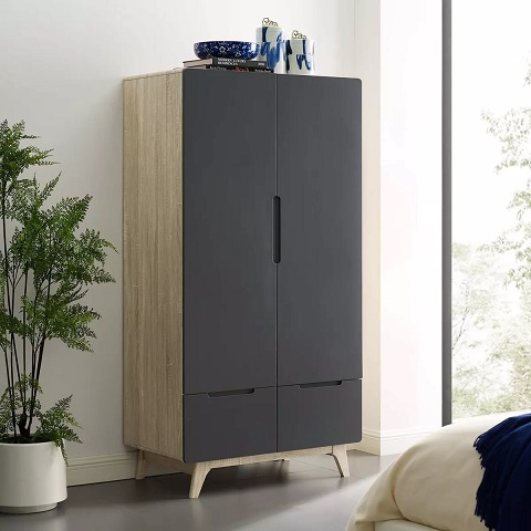 Origin Wood Wardrobe Cabinet in Natural Gray MOD-6077-NAT-GRY from Modway Furniture