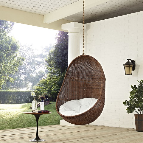 Bean Outdoor Patio Swing Chair EEI-2658-YLW-WHI-SET from Modway Furniture