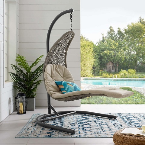 Landscape Hanging Chaise Lounge Outdoor Patio Swing Chair EEI-2952-LGR-BEI from Modway Furniture