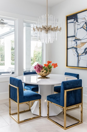 Dressing up simple modern designs with more traditional material choices can really make your space pop (by Studio G Interior Design)
