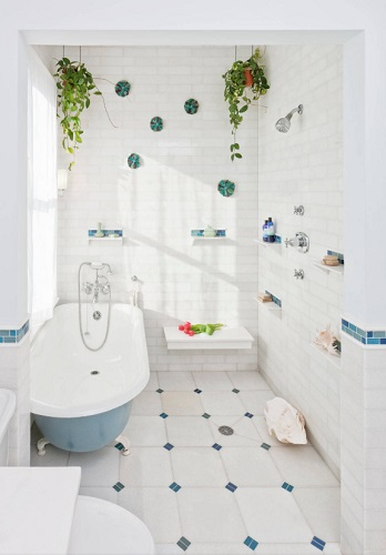 True wet bathrooms don't have any barriers at all, and are designed not to need them - since all the fixtures and flooring are designed to drain and dry well (by Auerbach Architects)