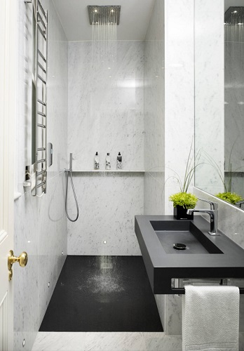 Upgrading to a wet bathroom can make it possible to fit a 3/4 bathroom in the square footage of the smallest half bath (by Studio Clark + Co)
