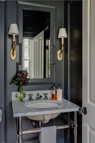 Starting with black paint and adding a few striking - but affordable - accents is an easy and affordable way to turn your half bath into a statement bath (by Patrick Ahearn Architect)