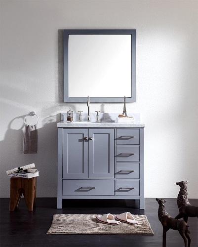 "Cambridge 37"" Single Sink Bathroom Vanity Set with Left Offset Sink in Grey from Ariel"