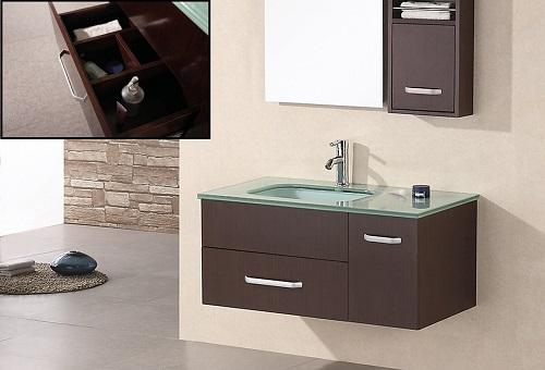 "Christine 35"" Single Sink Wall Mount Vanity Set in Espresso DEC1107 from Design Element"