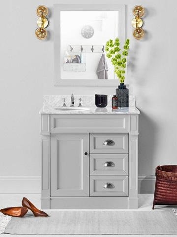 "Davenport 36"" Single Bathroom Vanity in Hampton Gray CABDAVGRY36S from Vanity by Design"