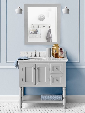 "Hudson 36"" Single Bathroom Vanity in Hampton Gray CABDAVGRY36S from Vanity by Design"