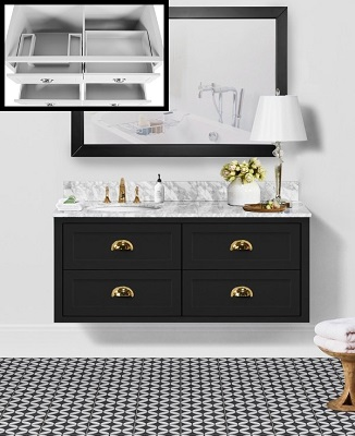 "Ivory 48"" Single Bathroom Vanity in Rich Black CABIVOBLK48S from Vanity by Design"