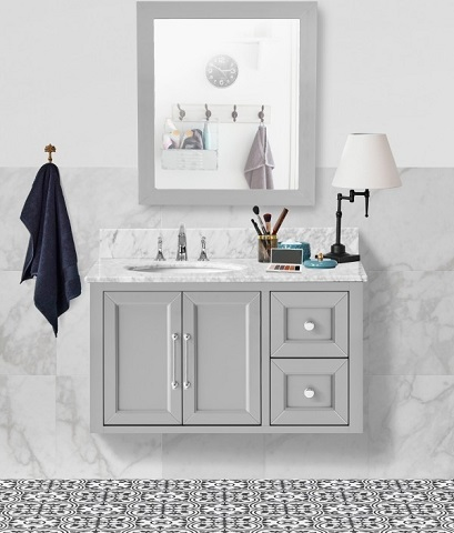 "Jasmine 36"" Single Bathroom Vanity Set in Hampton Gray CABJASGRY36S from Vanity by Design"