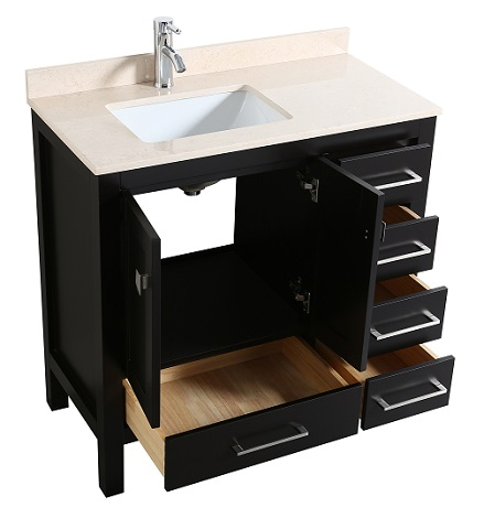"London 36"" Transitional Espresso Bathroom Vanity TVN414-36X18ES from Eviva"