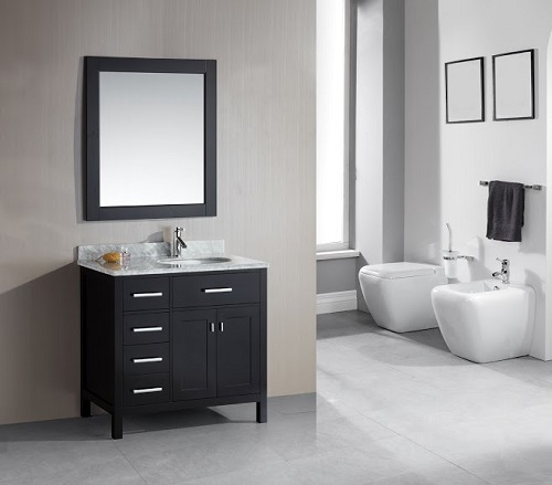 """London Stanmark 36"""" Single Sink Vanity Set in Espresso Finish With Lefthand Drawers DEC076D-L from Design Element"""