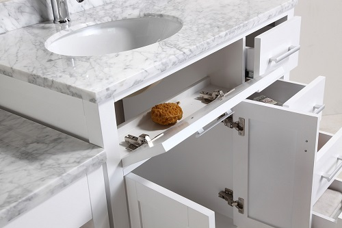 """London Stanmark 36"""" Single Sink Vanity Set in White Finish With Drawers on The Right DEC076D-W-R from Design Element"""