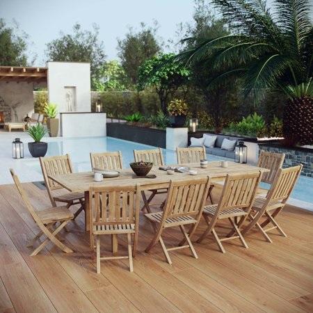 Marina 11-Piece Teak Outdoor Dining Set EEI-3285-NAT-SET from Modway Furniture
