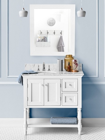 Open shelf bathroom vanities like this Hudson vanity are a cottage classic, and encourage your kids to keep things tidy while making it easy for them to find and organize their own stuff