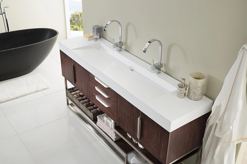Vanities with integrated sinks and counters (especially ones with trough sinks, like this Columbia vanity) are incredibly easy to clean, and make it possible to squeeze more than two kids in front of a single vanity