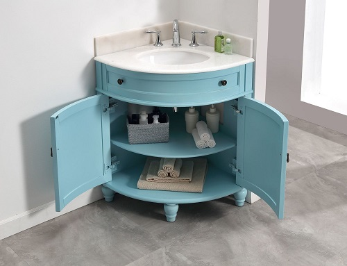 When all else fails, sometimes you just need a small vanity - and you can squeeze into a corner like this Angolo vanity definitely fits the bill