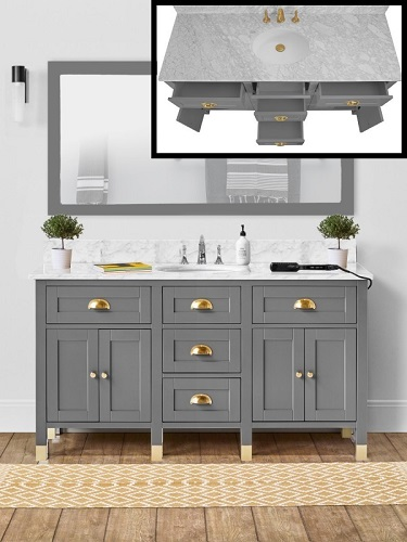 "Aurora 60"" Single Bathroom Vanity in Gray Gardens CABAURGAR60S from Vanity by Design"